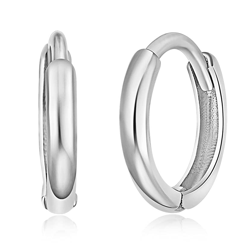 14k Yellow or White Gold 1.5mm Thickness Huggie Earrings (8 x 8 mm)