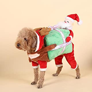 Richi Funny Pet Dog Clothes Santa Claus Carrying Gift Box Costume Fancy Puppy Apparel