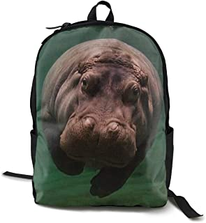 Diving Hippo Daypack With Adjustable Shoulder Straps, Camping Outdoor Backpack Big Capacity School Daypack Backpack Anti-Theft Multipurpose for Boys Girls