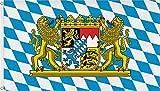 Flagge Bayern Löwe Freistaat 90 x 150 cm Fahne mit 2 Ösen 90g/m² Stoffgewicht Hissen EXTREM REIßFEST,sehr robust, extra starke Messing-Ösen - mehrfach umlaufend genäht, ideal als...