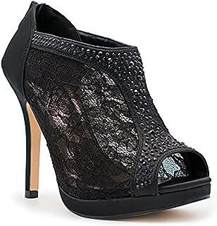 MVE Shoes Women's Closed Thin Heel with Mesh Fabric