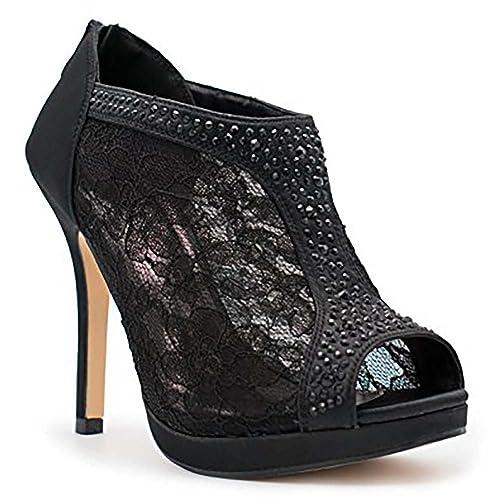 b9d880d9bed46 Black Lace Booties: Amazon.com