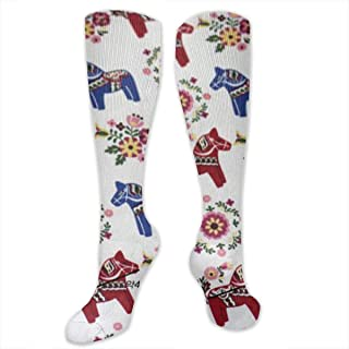 RCWZhxh Floral Swedish Dala Horses Compression Socks for Women & Men Best for Running, Athletic Sport, Pregnant, Nurse, Travel, Cycling
