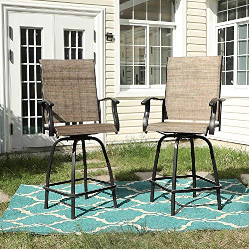 Sophia & William Outdoor Swivel Bar Stool Set of 2 Patio Bar Chair Breathable Textilene for Bistro Lawn All Weather Furniture Set, Brown
