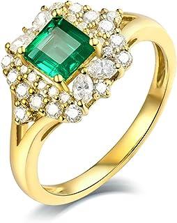 Daesar Anelli Donna Fidanzamento Oro Giallo 18K, 4 Griffe Smeraldo Quadrato 0.59ct con Diamante 0.55ct Anelli Oro Matrimonio