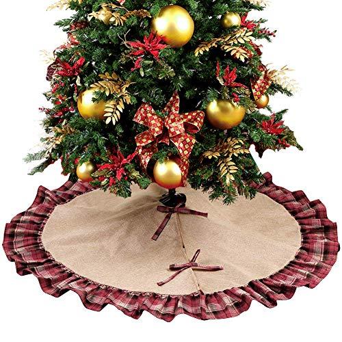 Ourwarm - Jupon de sapin de Noël 122 cm en toile de jute, motif écossais rouge et noir