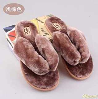 Spring, Summer, Autumn and Winter Household Cotton Plush Slippers Female Indoor Floor Flat Shoes Wholesale Zhaozb (Color : Khaki, Size : 9)