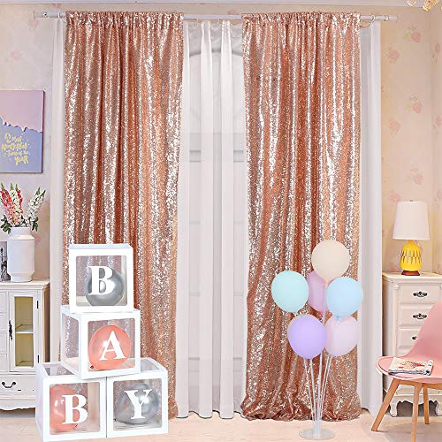 Blxsif Rose Gold Sequin Backdrop - Curtains 2 Panels 2.2FTx8FT Rose Gold Curtains Glitter Party Wedding Baby Shower Curtain Photography Background Sparkle Photo Backdrop