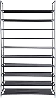 Smart-Home 10 Tiers Shoe Rack 50 Pairs Non-woven Fabric Shoe Tower Storage Organizer Cabinet [Black] …