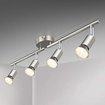 Defurhome LED Deckenleuchte Drehbar, 8 Flammig LED Strahler Deckenlampe  Spot,Modern Deckenstrahler (Mattes Nickel) für Küche, Wohnzimmer,