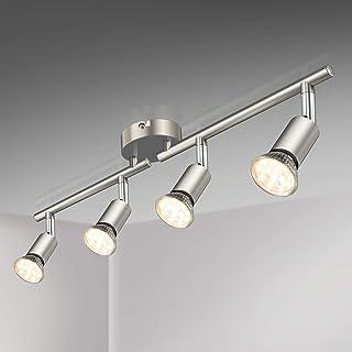 Defurhome Lámpara de techo con 4 focos LED GU10, focos ajustables y giratorios para interiores, de luz blanca cálida, 3.5W, 380 lúmenes, 2900K, Mate No Regulable