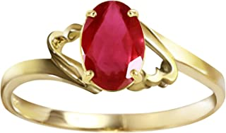 Galaxy Gold Genuine 14k Solid Gold Ring with 1.15 Carat Natural Oval-Shaped Ruby