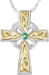 Xingsd - Collana da donna con ciondolo a forma di croce celtico con smeraldo celtico, per donne e ragazze