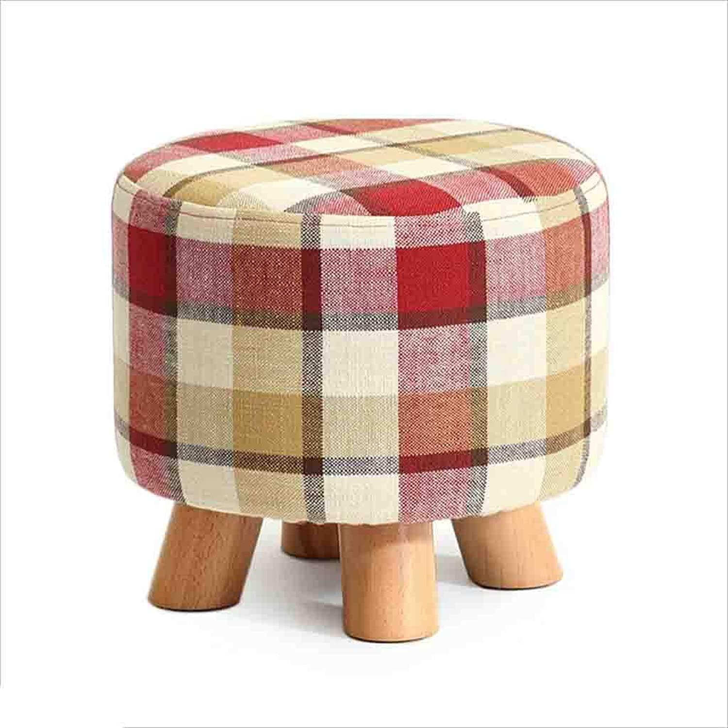 QZ HOME Stool Solid Wood Creative Low Stool Flax Cloth Assemable Comfortable Cushion Wooden Bench (color   1)