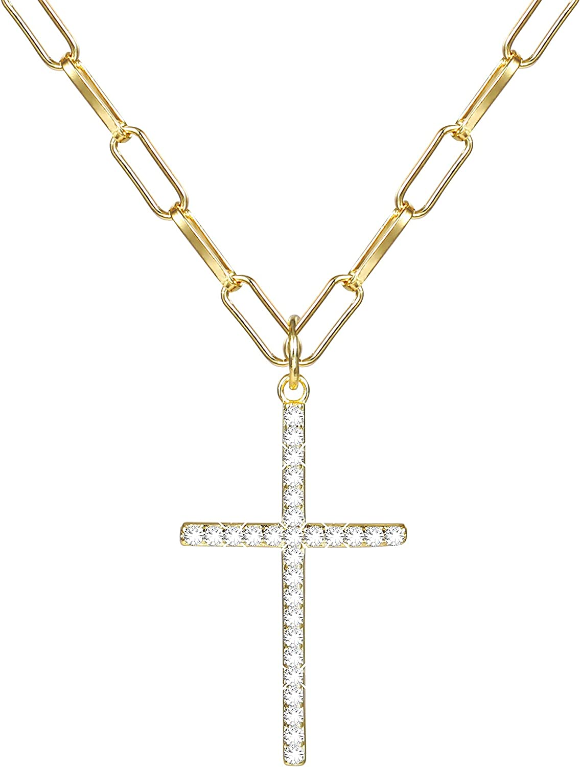 14 K Gold Plated Cross Pendant Necklace - Paperclip Gold Link Chain Necklaces for Women 24 Inch Long