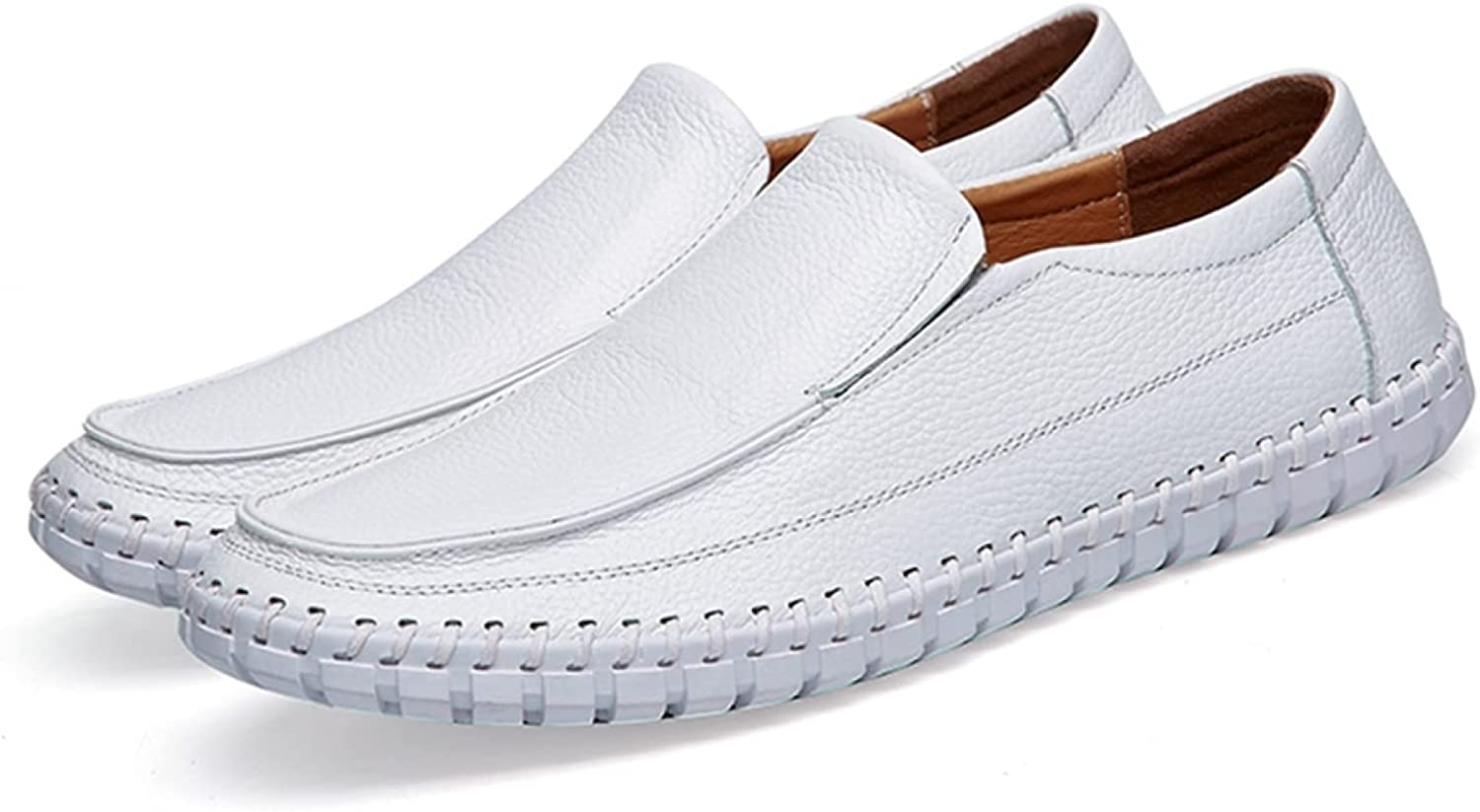 Generic4 Men Leather Loafers Breathable Lightweight Solid Color Round Toe Flat Moccasins Male Comfort Driving Walking Casual Shoes White