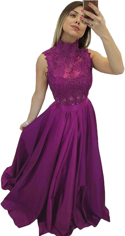 Liyuke Women's Lace Prom Dresses Appliques Beaded Long Evening Dress Sleeveless Formal Gowns