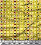 Soimoi Gelb Seide Stoff mischen Obst Drucken Nahen Stoff 1
