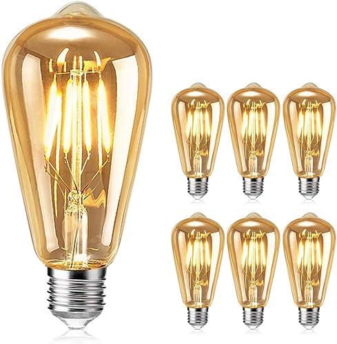 Ampoule Edison, otutun Ampoule LED Vintage Lampe Décorative E27 4W Rétro Filament Ampoule Antique Blanc Chaud pour Re...