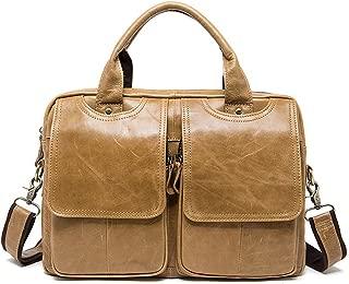 "Men's Accessories Men's Top Cow Genuine Leather Business Handbag Briefcase Shoulder Messenger for 13""Laptop Outdoor Recreation (Color : Yellow)"