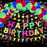 29 Artículos de Fiesta Cumpleaños Neón, Pancarta Happy Birthday, Guirnalda de Estrella Punto Circular Papel Reactiva UV, Bandera Triangular, Globo Fluorescente Luz Negra para Brillar Cumpleaños