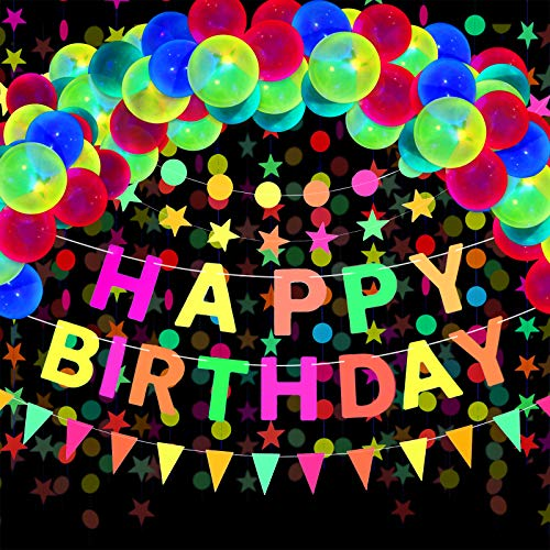 Gejoy 29 Stück Neon Geburtstag Zubehör, Neon Happy Birthday Banner, Reaktives UV Neon Papier Kreis Punkte Stern Girlanden, Dreiecksflaggen Ammer, Fluoreszierende Schwarzlicht Ballons für Glow Party