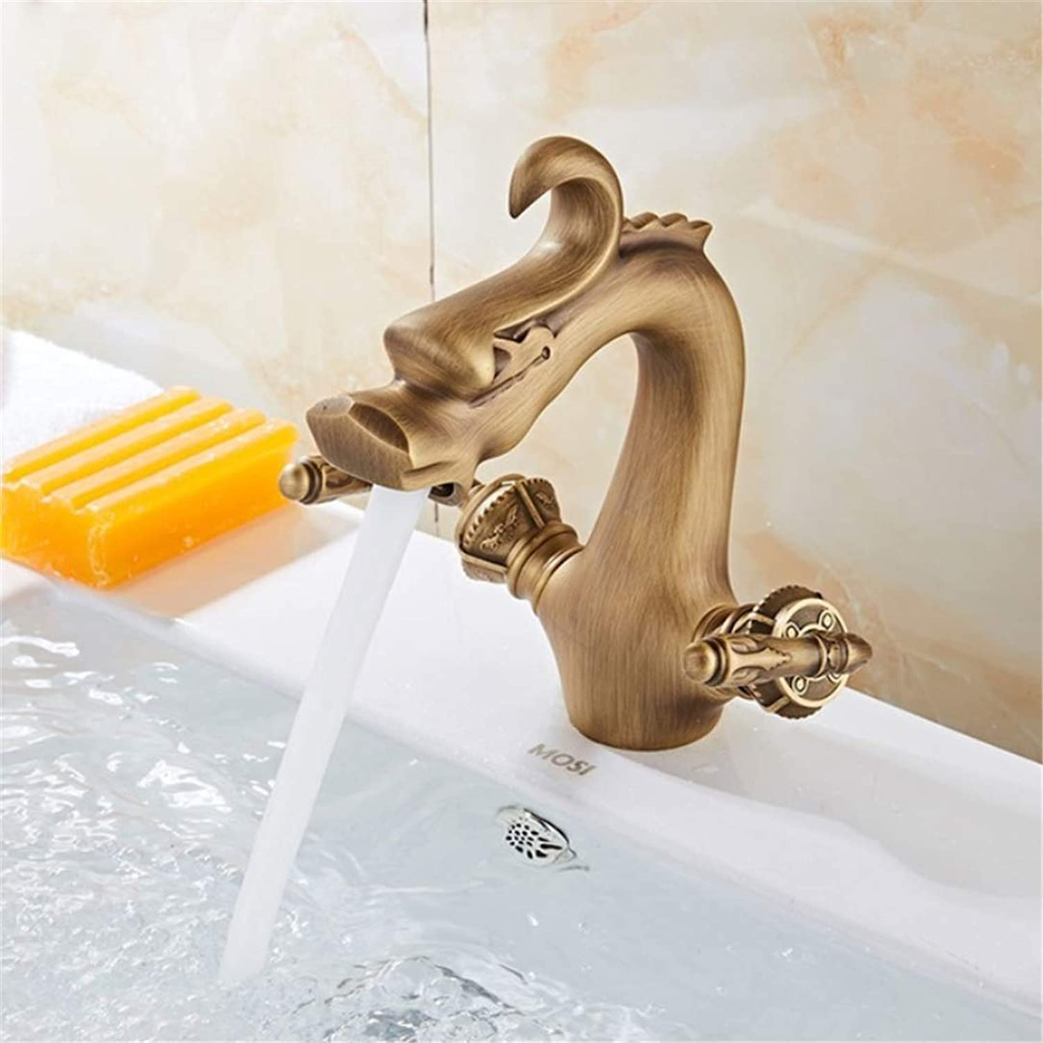 Basin Faucets Brass Dragon Style Bathroom Sink Faucet Dual Handle Deck Mount Bath Washbasin Hot Cold Mixer Water Tap WC Taps