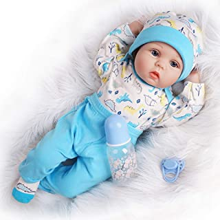 Yesteria Reborn Baby Doll, 22 Inch Realistic Silicone Baby Doll, Weighed Reborn Doll in Blue Dinosaur Outfit, with Accesso...