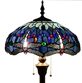 Tiffany Style Floor Standing Lamp 64 Inch Tall Blue Stained Glass Shade Crystal Bead Dragonfly 2 Light Pull Chain Antique Base for Living Room Bedroom Coffee Table S004 WERFACTORY