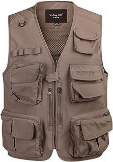 Summer vest Men's Loose vest Outdoor vest Breathable vest Fishing vest (Color : Khaki, Size : XXL)
