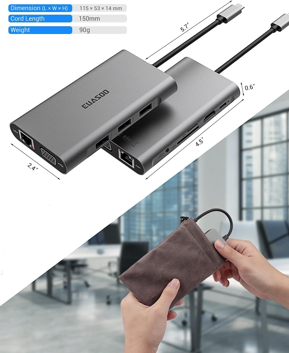 USB C Hub,Type C Hub,EUASOO 10 in 1 Adapter with 1000M RJ45 Ethernet, 4K HDMI, VGA, USB 3.0 Ports, PD 2.0 Charging Port, Card Reader, Audio Mic Por for MacBook Pro,Chromebook