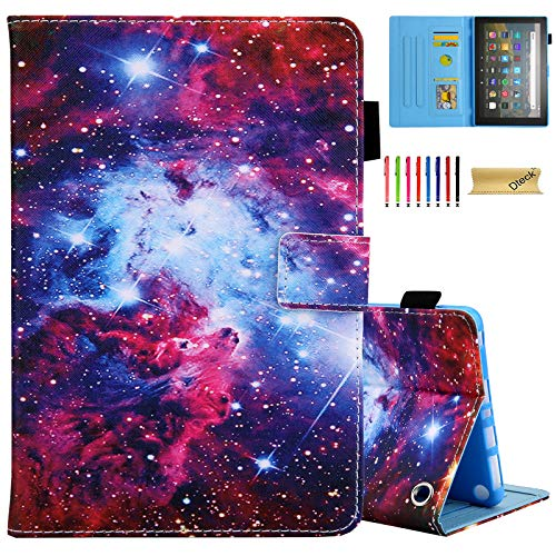 Dteck Case for (10th Generation 2020) All-New Fire HD 8 & Fire HD 8 Plus Tablet, Adjustable Viewing Stand Leather Wallet Slim Cover, Magnetic Closure Folio Case with Auto Sleep Wake (Mystery Galaxy)