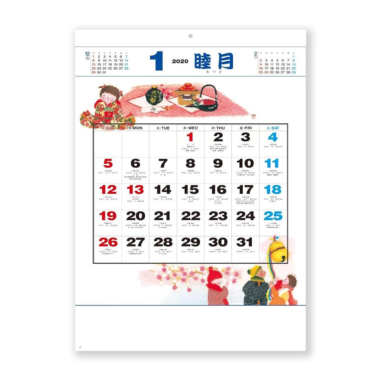 ライン迷彩ピケ新日本カレンダー 2020年 カレンダー 壁掛け 風物歳時記 NK492