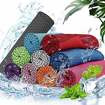 Gxhong Serviette de Refroidissement Serviette de Gym en Microfibre Instantanée Froide Serviette de Glace Serviette Rafraîchissante pour Yoga, Gym, Voyage, Camping, 10 Pcs