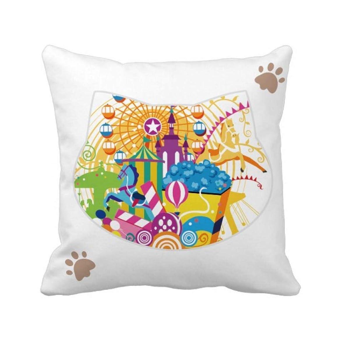 アスリート冊子フロント観覧車城の遊園地 枕カバーを放り投げる猫広場 50cm x 50cm