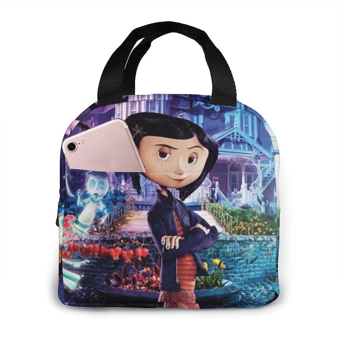 今晩回答コテージCoraline コララインとボタンの魔女 大容量 ファスナー付き 前ポケット付き ハイクオリティエコ断熱材 弁当バッグ ランチバッグ Lunch Bag