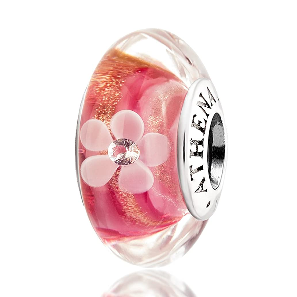 ATHENAIE Murano Glass 925 Silver Core Pink Gold Dust Petal Charm Bead