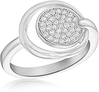 Tuscany Silver 女士纯银镀铑方晶锆石圆盘和圆环戒指