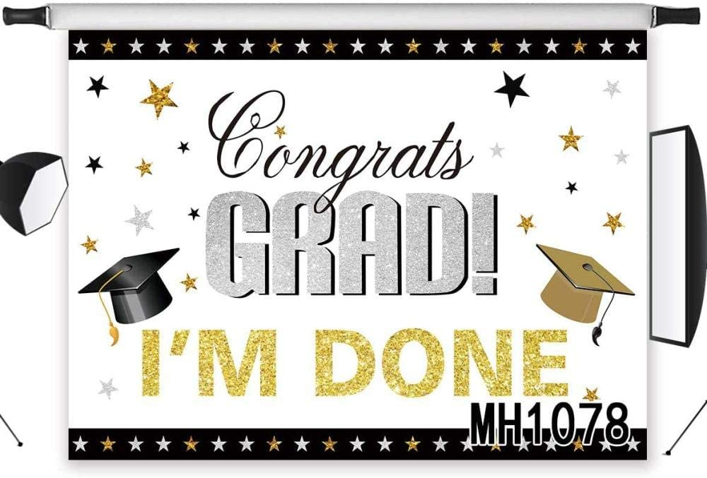 Zhy 7x5ft Graduation Backdrop Congrats Grad Class of 2020 Gold and Black Bachelor Cap Balloons Boys and Girls Photography Background Prom Party Banner Event Supplies Decoration Photo