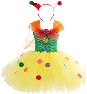 Circus Clown Girl Costume Handmade Tutu Dress Kids Funny Role Play Halloween Christmas Carnival Outfits w/Hair Hoop