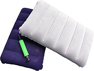 Inflatable Pillow, Pack of 2 Compressible Pillow Comfortable Blow Up Flocking Napping Pillow Ergonomic Neck & Lumbar Suppo...