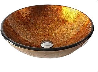 浴室の芸術的な船のシンク現代の強化ガラスカウンターの上にポップアップ排水セットと洗面台の洗面所 (色 : オレンジ)