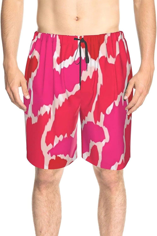 JINJUELS Men's Swim Shorts Pink Marble Swim Board Shorts Drawstring Elastic Swimming Trunks with Mesh Lining
