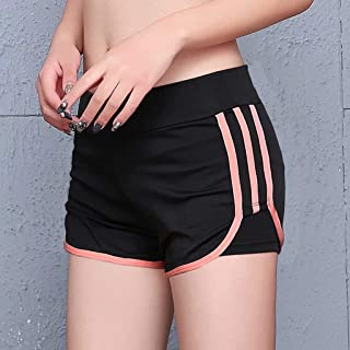 Sports T-Shirt Shorts Female Yoga Clothes Summer Running Shorts Tight Large Size Quick-Drying Fitness Pants,Pink,XL