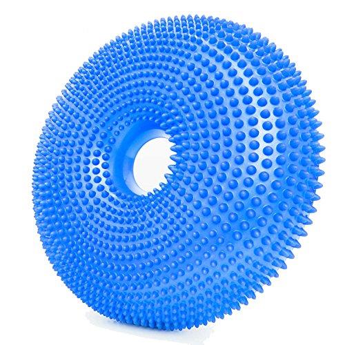 Orthopädisches Sitzkissen/Sitzunterlage | aktives Sitzen gegen Rückenschmerzen & Verspannungen - 33cm Durchmesser & 120kg Belastungsgrenze | Variable befüllbares Luftkissen : Donut-himmelblau