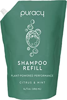 Puracy Natural Daily Shampoo Refill, 64 Ounce, Reformulated for All Hair Types, Sulfate-Free, Non-Drying, ½ Gallon