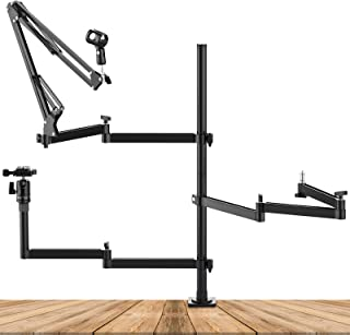 Live Streaming Desk Mount Stand w 3 Aluminum Flexible Arm - Microphone Boom Arm, Camera Desk Mount Stand w Quick Release B...