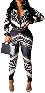 FSSE Women's Casual Regular Fit Zip Up Print 2 Pcs Set Tracksuits Outfit