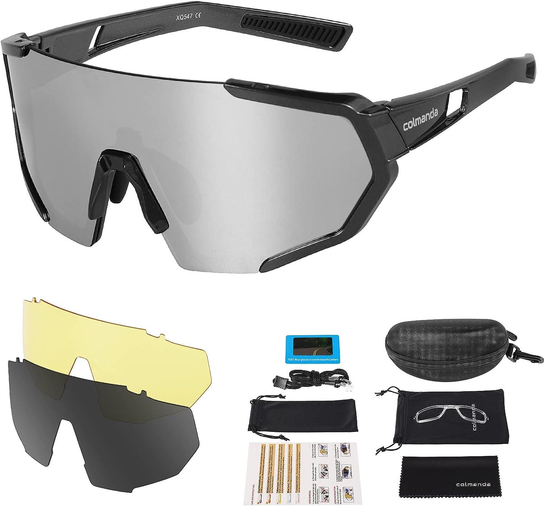 colmanda Gafas de Ciclismo Polarizadas, Gafas Ciclismo UV400, 3 Lentes Intercambiables para Hombres y Mujeres, Gafas Sol Deportivas para Bicicleta, Montaña, Navegar, Pescar, Conducir