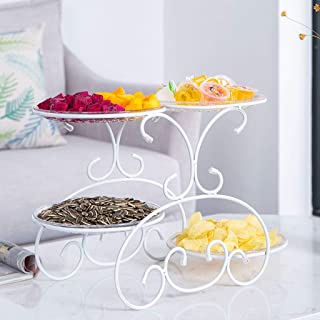 Fruit Plate Creative Modern Home Living Room Coffee Table Fruit Bowl Multi-layered Dessert Table Display Stand European-style Pastry Cake Rack Tray (Color : White)
